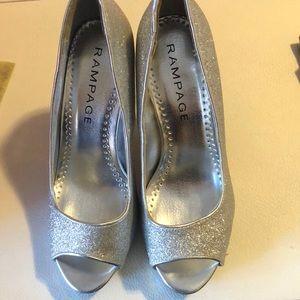 Shoes - Women's Open Toe Glitter Heels